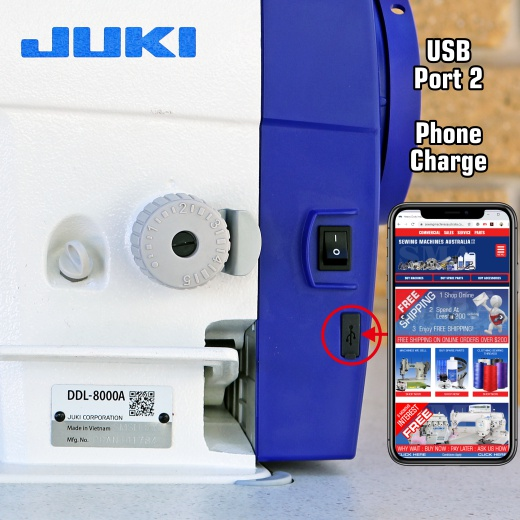 Juki DDL 8000A USB Port for Phone Charging